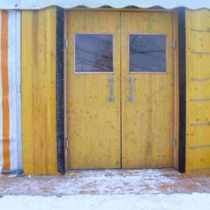 Pendeltüre mit Wärmesperre für Zelteingänge